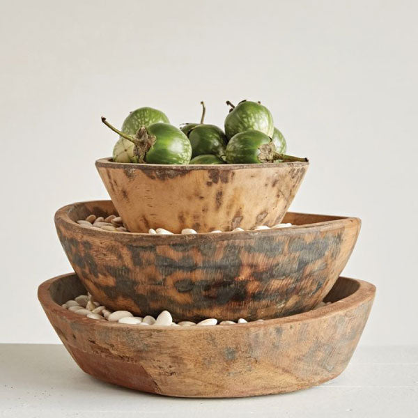 ROUND WOOD HAND-CARVED BOWLS - Bungalow 56