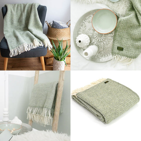 Illusion Sage Green Grey Pure New Wool Throw