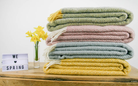 Spring Colours in our British Made Pure New Wool Throws
