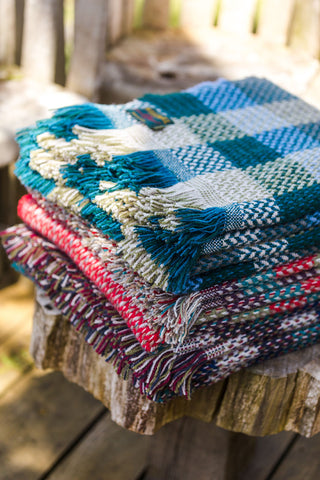 Random Check Celtic Weave Recycled Wool Throw