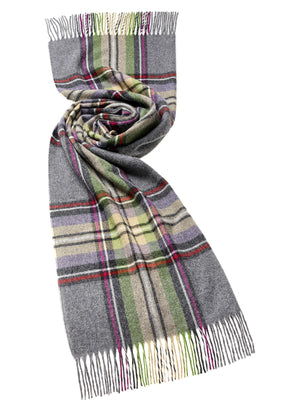 York Check Lambswool Stole - Grey