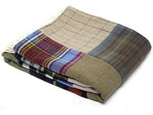 Patchwork Pure New Wool Throw - Tartan