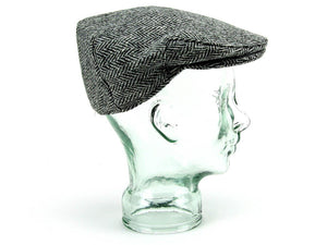 Herringbone Harris Tweed Flat Cap - Grey