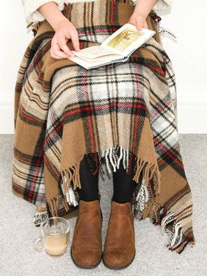 Tartan Pure New Wool Knee Rug - Camel Stewart