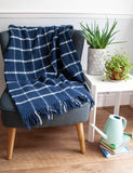 Windowpane Pure New Wool Throw - Navy