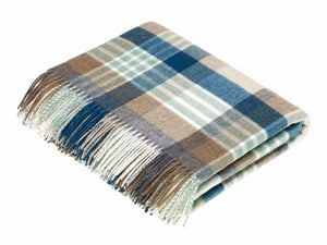 Melbourne Check Lambswool Throw - Eucalyptus