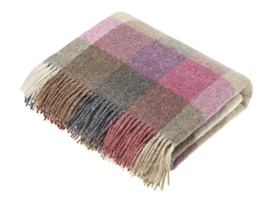 Harlequin Check Pure New Wool Throw - Heather