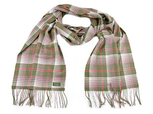 Check Cashmere Stole - Green/Cranberry
