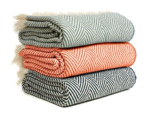 Chevron Recycled Wool Throw - Assorted Colours
