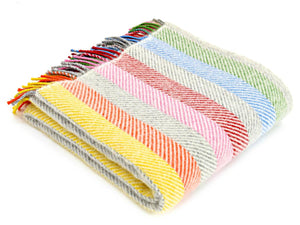 Stripe Pure New Wool Throw - Rainbow Grey