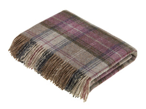 Stroud Check Pure New Wool Throw - Heather