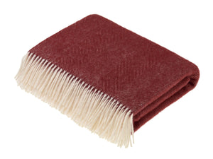 Herringbone Shetland Pure New Wool Throw - Red