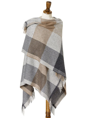 Block Check Lambswool Mini Shawl - Natural/Grey