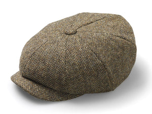 Country Tweed Baker Boy Hat - Brown