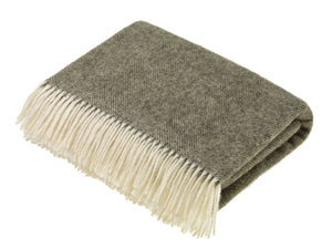 Herringbone Shetland Pure New Wool Throw - Vintage Grey