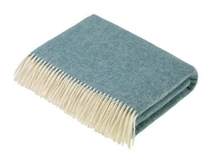 Herringbone Shetland Pure New Wool Throw - Turquoise Aqua