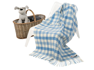 Check Merino Cashmere Baby Blanket - Blue