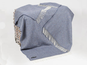 Herringbone Oversized Merino Cashmere Throw - Denim Blue