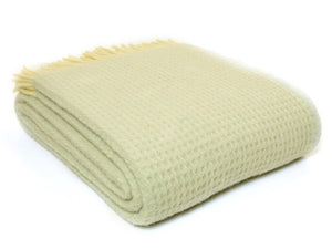 Waffle Pure New Wool Throw - Frost