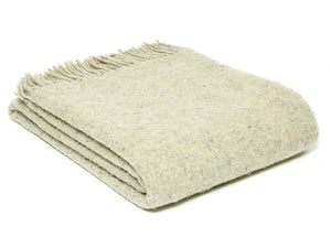 Diagonal Stripe Recycled Wool Throw - Natural