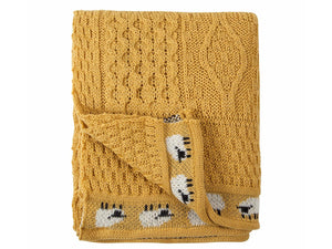 Knitted 100% British Wool Throw - Sunflower Yellow
