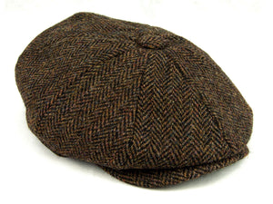 Herringbone Harris Tweed 'Peaky Blinders' Newsboy Cap - Brown