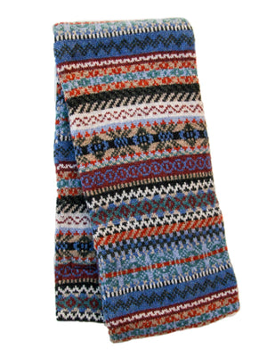 Fairisle Lambswool Thick Scarf - Navy/Red/Grey