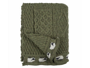 Knitted 100% British Wool Throw - Olive Green