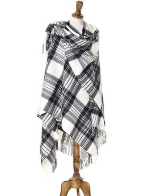 Tartan Lambswool Shawl - Dress Grey Stewart