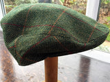 Garforth Tweed Flat Cap - Loxley Green Herringbone