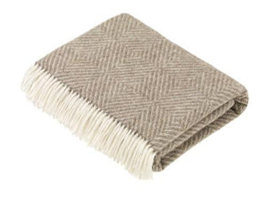 Diamond Merino Lambswool Throw - Natural