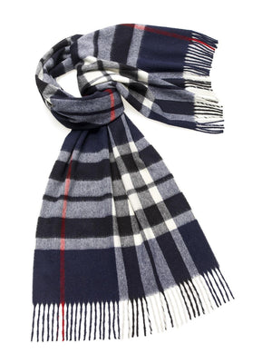 Westminster Check Lambswool Stole - Navy
