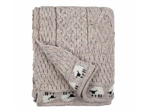 Knitted 100% British Wool Throw - Natural