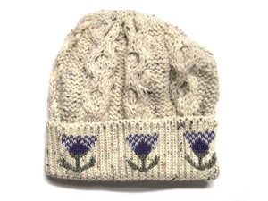 Knitted 100% British Wool Beanie Hat - Thistle Nep