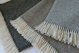 Herringbone 100% British Wool Throw - Marsh Grey