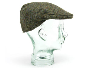 Herringbone Harris Tweed Flat Cap - Green