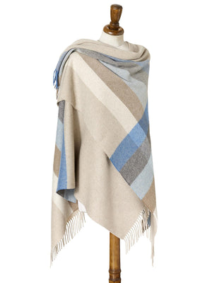 Stripe Lambswool Mini Shawl - Aqua/Natural