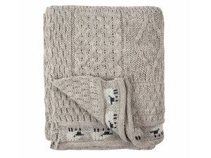 Knitted 100% British Wool Throw - Light Grey