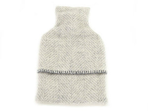 Herringbone Pure New Wool Hot Water Bottle - Grey