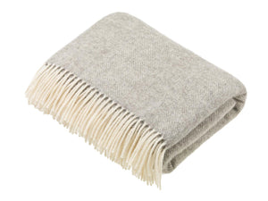 Natural Collection - Pure New Wool Throw - Grey Herringbone