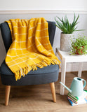 Windowpane Pure New Wool Throw - Mustard