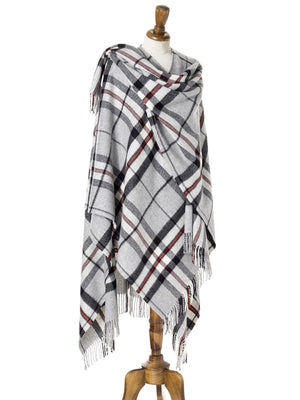 Tartan Lambswool Shawl - Grey Thompson