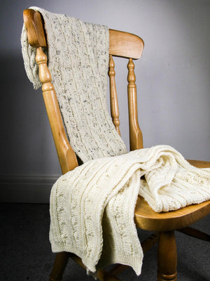 Knitted Aran British Wool Scarf - Cream