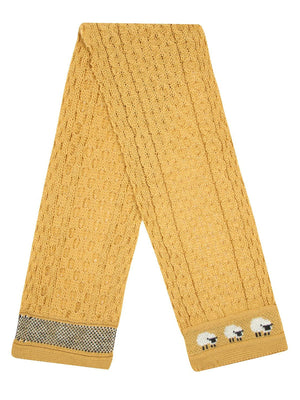 Knitted 100% British Wool Scarf - Sunflower Yellow