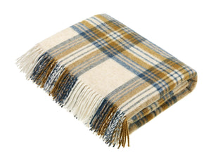 National Trust Check Pure New Wool Throw - Gold/Teal