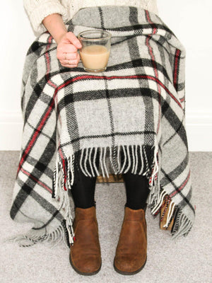 Tartan Pure New Wool Blanket - Grey Thompson