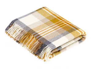Melbourne Check Lambswool Throw - Gold