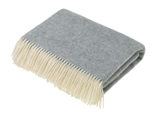 Herringbone Shetland Pure New Wool Throw - Duck Egg