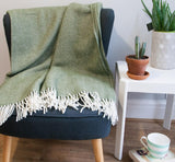 Herringbone Pure New Wool Throw - Olive