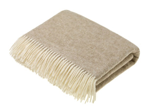 Herringbone Shetland Pure New Wool Throw - Natural